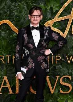 LONDON, ENGLAND - DECEMBER 10: Hamish Bowles arrives at The Fashion Awards 2018 In Partnership With Swarovski at Royal Albert Hall on December 10, 2018 in London, England. (Photo by Jeff Spicer/BFC/Getty Images for BFC)